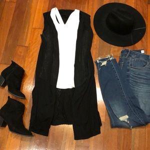 Black Sleeveless Duster Cardigan